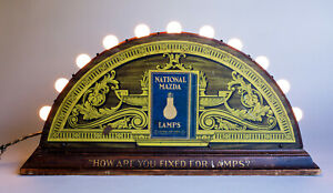 Antique Advertising 1920 GE National Mazda Lamp Bulb Display w Tin Lithograph