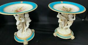 WONDERFUL ANTIQUE PAIR OF PORCELAIN COMPOTES WITH CHERUBS GERMAN  FRENCH
