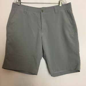 Mens Under Armour Heat Gear Shorts Size 38 Gray Flat Front Stretch Athletic Golf
