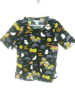Cherokee Scrub Top Size Small Black Halloween Pumpkins Ghost Trick or Treat