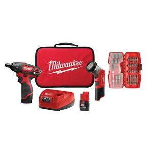 M12 12-Volt Lithium-Ion Cordless 14 In. Hex ScrewdriverLed Worklight Kit With