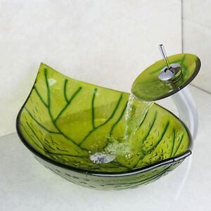 US Green Leaf Shaped Bathroom Basin Bowl Sink With Faucet MixerDrain Tap Set $89.99