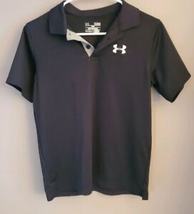 Under Armour Boy's Golf Black With Gray Accents, Polo Shirt Youth Large $11.50