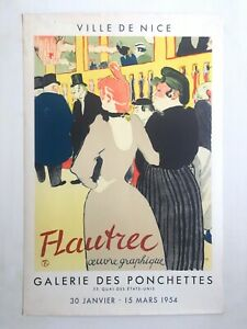TOULOUSE LAUTREC RARE 1954 LITHO PRINT FRENCH EXHBT POSTER AT MOULIN ROUGE 1892