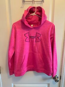 Girls Under Armour Pink Storm Hoodie Sweatshirt Coldgear Loose XL Pull Over $14.99