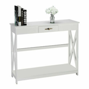 Console Table for Entryway Living room W 1 Drawer Storage Hall Table Desk White