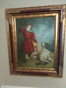 Antique painting boy dog on canvas 26quot;x32quot; signed framed unknown artist $99.99