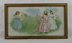 Antique 19th Century Victorian Lithograph Print of Children Baby Cupid Cherub $20.00