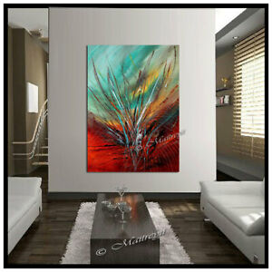 Red Passion ART Abstract painting on canvas large Wall modern art Original $474.00