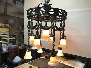 Awesome Antique Bronze Chandelier With 9 Art Glass Shades One Of A Kind