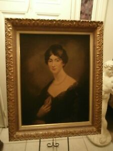 LARGE ANTIQUE FRENCH PORTRAIT VICTORIAN LADY HOLDING SMALL BOOK OIL ON BOARD