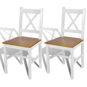vidaXL 2x Solid Pinewood Dining Chairs White Natural Color Kitchen Seating $95.99