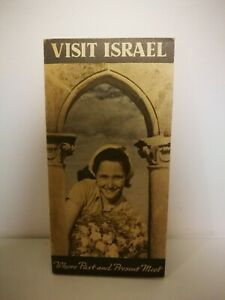 A Tourist Map Of Israel Brochure Folder 1950's Come To The Land Of the Bible