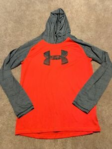 Boys Under Armour Red Gray Marl Hoodie Sweatshirt Top Size XL $9.99