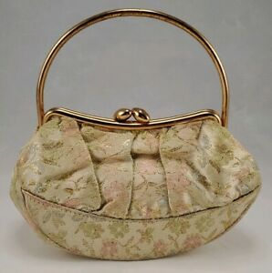 Small Vintage Purse Gold Thread Rose Gold Metal Handle $15.00