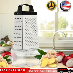 Stainless Steel Manual Cheese Vegetable Grater Box 4 Sided & Container Box I9Q1