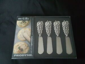Pewter w/Stainless Steel Cheese Spreaders Prodyne Metalla Set Of 4 GRAPES (AA2)