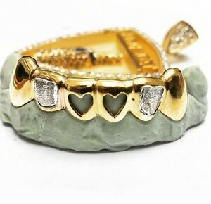 Custom 14k Gold Plated Two Tone Sterling Silver Heart Open Face Iced Grillz Slug