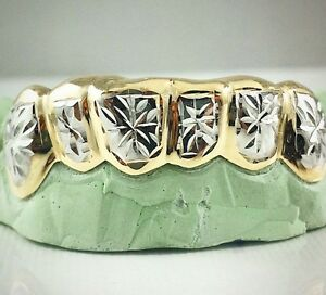 Custom Silver 14k Gold Plated Starburst Snowflake Cut 2 Tone 6pc Grillz Grill
