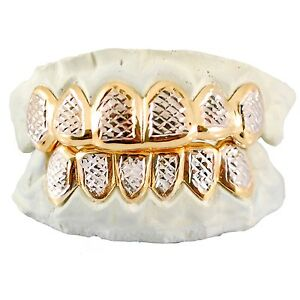 Custom Sterling Silver 14k Gold Plated Diamond Cut Two Tone 6pc Grillz Grill