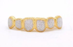Custom 10K 14K Gold Grillz Two Tone Full Diamond Dust Style Punchout Grill