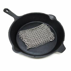 Cast Iron Scrubber 8 x 8 - High Grade Stainless Steel Scrubber Chainmail