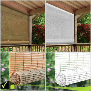 CORDLESS ROLL UP BLIND Outdoor Sun Shade Deck Patio PVC Manual Roll Up Exterior