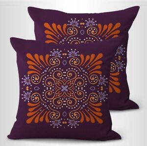 set of 2 flower mandala yoga meditation decorative throw pillowcase