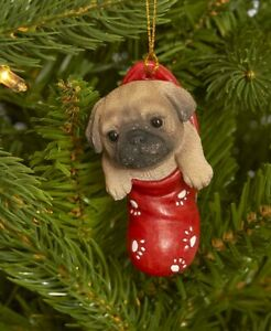 Dog & Cat Ornaments Christmas Tree Ornament Holiday Decor Pug in Stocking