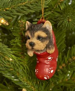 Dog & Cat Ornaments Christmas Tree Ornament Holiday Decor Yorkie in Stocking