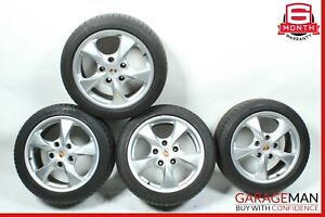 97-04 Porsche Boxster 986 Complete Front & Rear Side Wheel Tire Rim Set R17 OEM