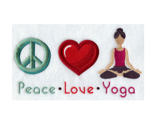CUSTOM EMBROIDERED PEACE LOVE YOGA EXERCISE SPORTS BATH HAND TOWEL SET