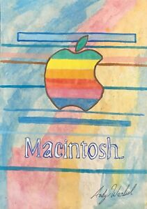 ANDY WARHOL HAND DRAWN AND SIGNED APPLE  MACINTOSH  WATERCOLOR ON PAPER C. 1984