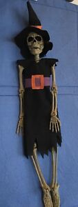Scary Witch Dressed Up Skeleton Hanging Halloween Decoration 16