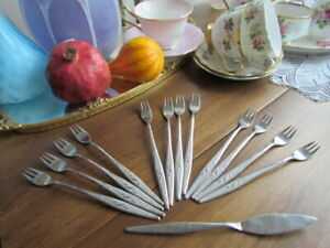 Woodmere Oneida Community Stainless Mixed lot Cocktail olive sea Food Forks 12