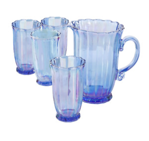 Blue Set of 5 Pioneer Woman 15 OZ Drinking Glasses Serving Pitcher Set Tumblers