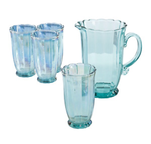 Teal Set of 5 Pioneer Woman 15 OZ Drinking Glasses Serving Pitcher Set Tumblers