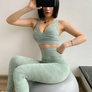 Womens Ruched Camouflage Seamless Yoga Leggings Bra Suit Crop Top Workout Sets