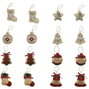 Rustic Decor Hessian Merry Christmas Tree Ornaments DIY Star Holiday Party