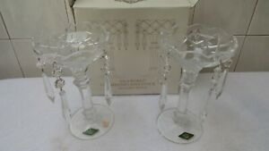 Shannon Old World Chandelier Candlestick Pair 5 Prisms 24% Lead Crystal