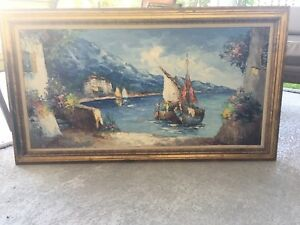 Vintage  Oil On Canvas Painting Signed Camprio. Free Shipping $360.00