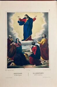 The Ascension Of N.S.A Los Skies Lithograph Original Of Turgis 1844-1855 $25.87