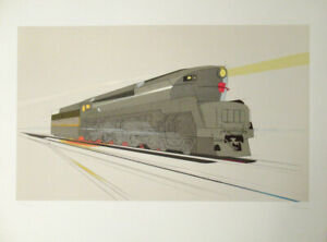 Raymond Loewy Pencil Signed Lithograph of T 1 Locomotive $350.00