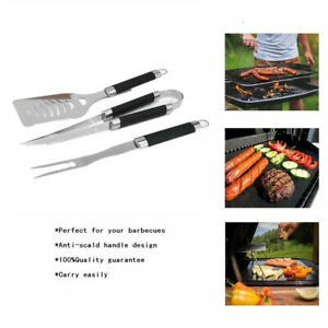 Set of 3pcs Durable Party Kitchen Tools BBQ Tools Grill Utensils for Home Picnic