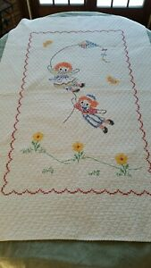 Vintage Raggedy Ann amp; Andy Hand Cross Stitched Crib Quilt $24.99