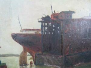 ANTIQUE WPA ERA OIL PAINTING OF SHIP AT DOCK signed CARTER