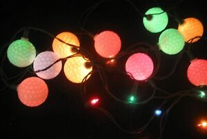 20 LIGHTED GOLF BALLS STRING LIGHTS; PATIO NOVELTY, CHRISTMAS or RV 15 ft Wire
