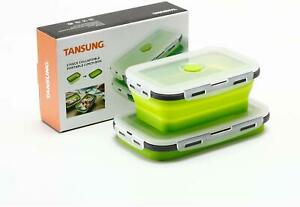 NEW Set of 2 TANSUNG Silicone Collapsible Food Storage Containers Lunchboxes