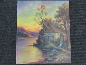 William Thompson Print Lithograph Water Mill House W.M.