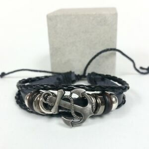 Silver Metal Color Adjustable Synthetic Black Leather Anchor Bracelet